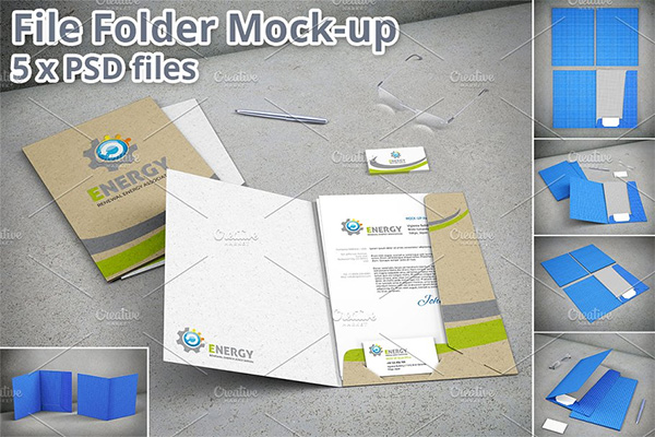 Stationary File Folder Mockup - 5 Mockup Files