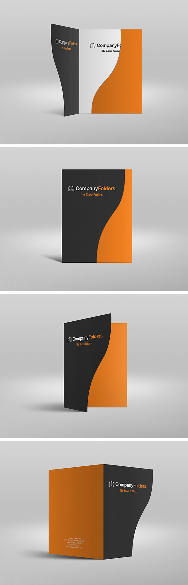Serpentine Presentation Folder - Free MockUp