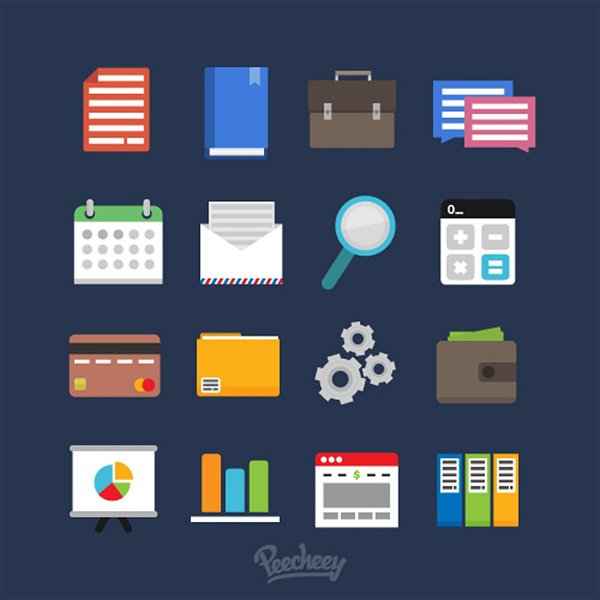 Flat Set of Business Icons