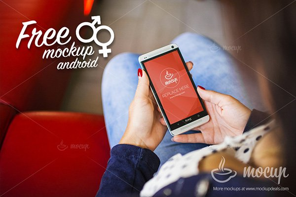 FREE HTC Android PSD Mockup Lady
