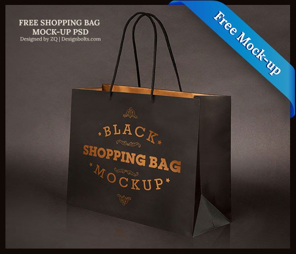 Free Black Shopping Bag Mock-up PSD