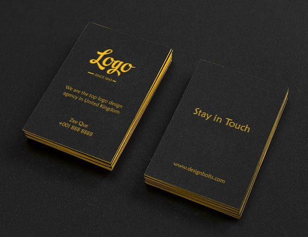Black Vertical Business Card Mock-up PSD