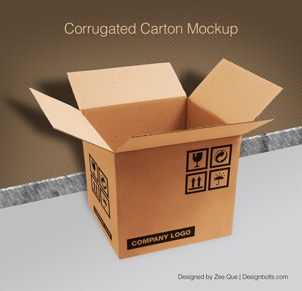 Corrugated Carton / Box Packaging Mock-up PSD