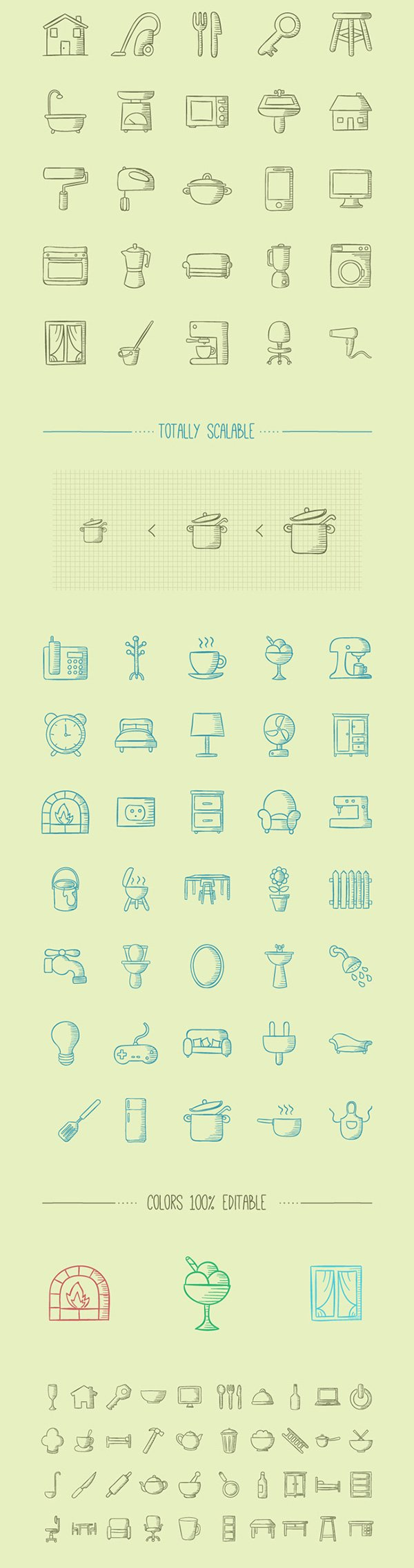 100 Handmade Icons About Home Stuff (exclusive)