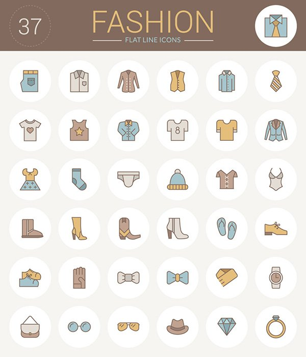 Flat Line Fashion Icons Pack