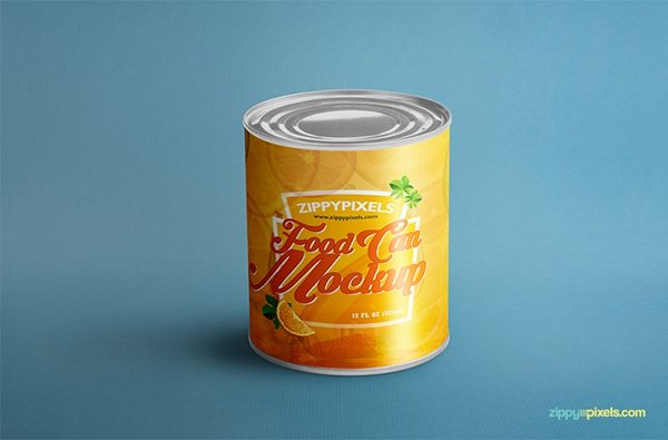 Food Can Mock-Up For Product Packaging