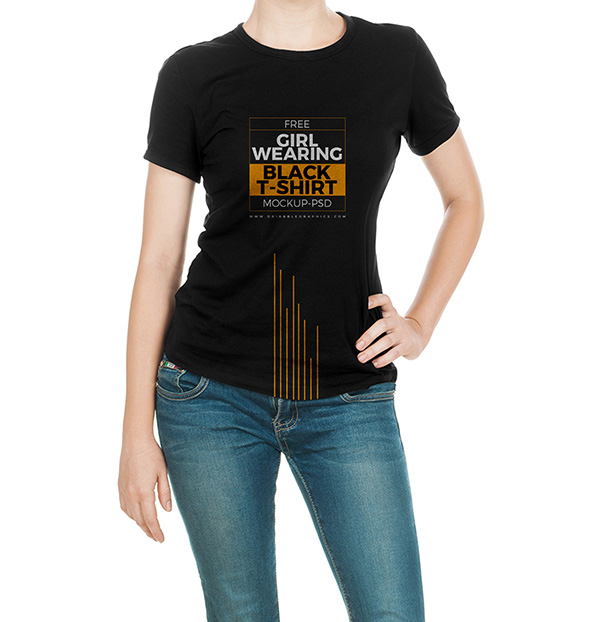 Girl Wearing Black T-Shirt Mock-up