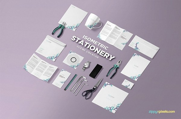 Isometric Stationery PSD Scene