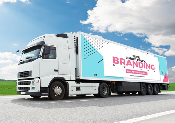 Free Lorry Truck Branding Mockup For Advertisement