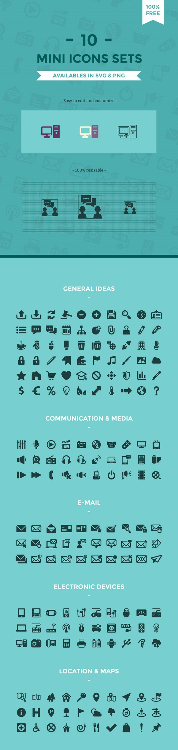 Free Minimal Icon Sets (SVG + PNG)