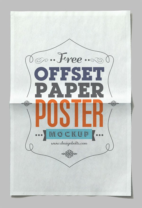 Offset Paper Horizontal Poster Mock-up