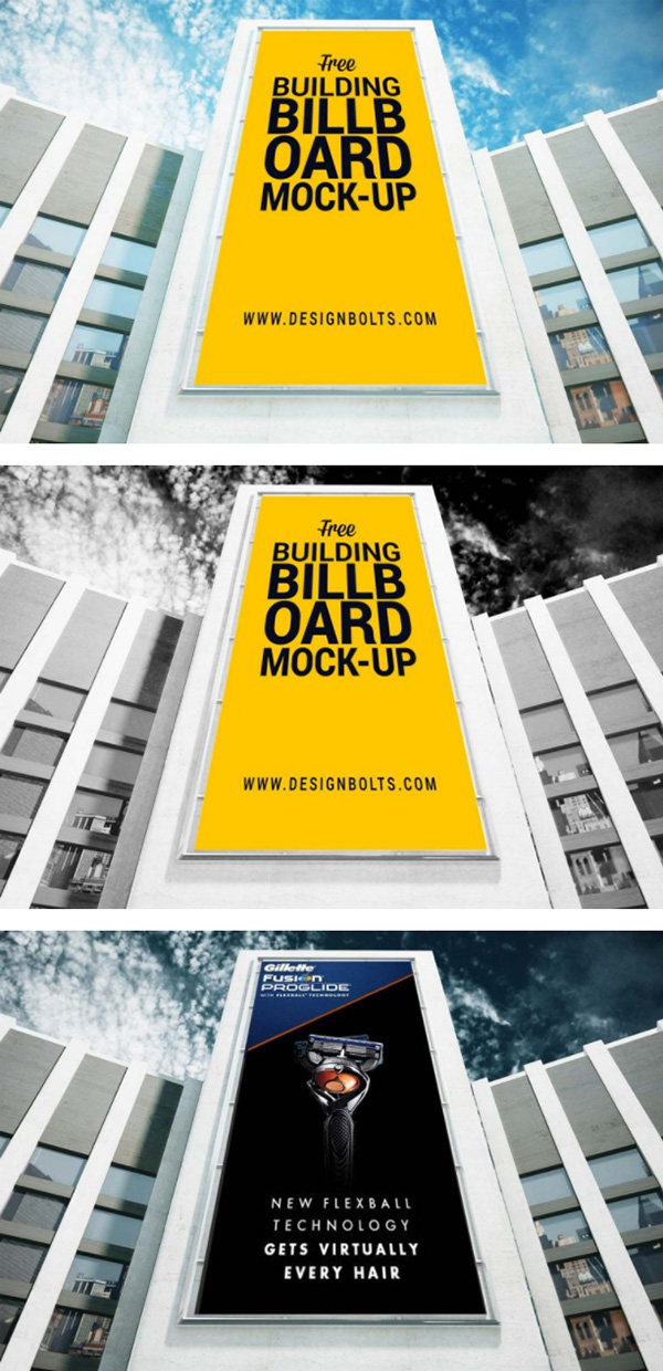 Outdoor Advertising Building Billboard Mockup PSD
