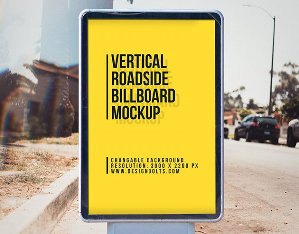 Free Outdoor Advertising Roadside Street Billboard Mockup PSD