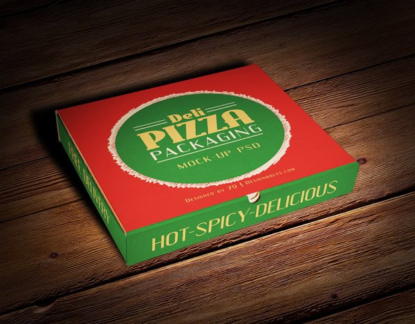 Free Pizza Box Packaging Mock-up PSD