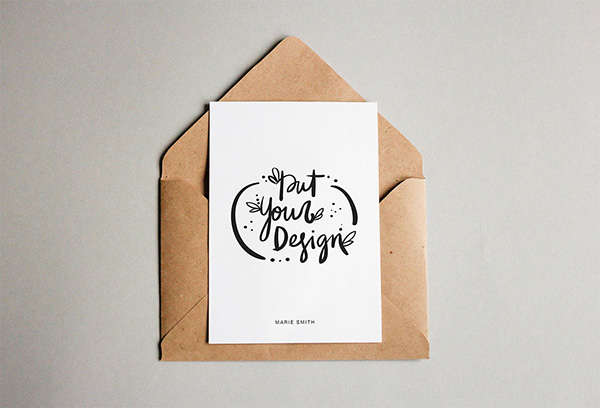 Free Postcard With Envelope Mockup