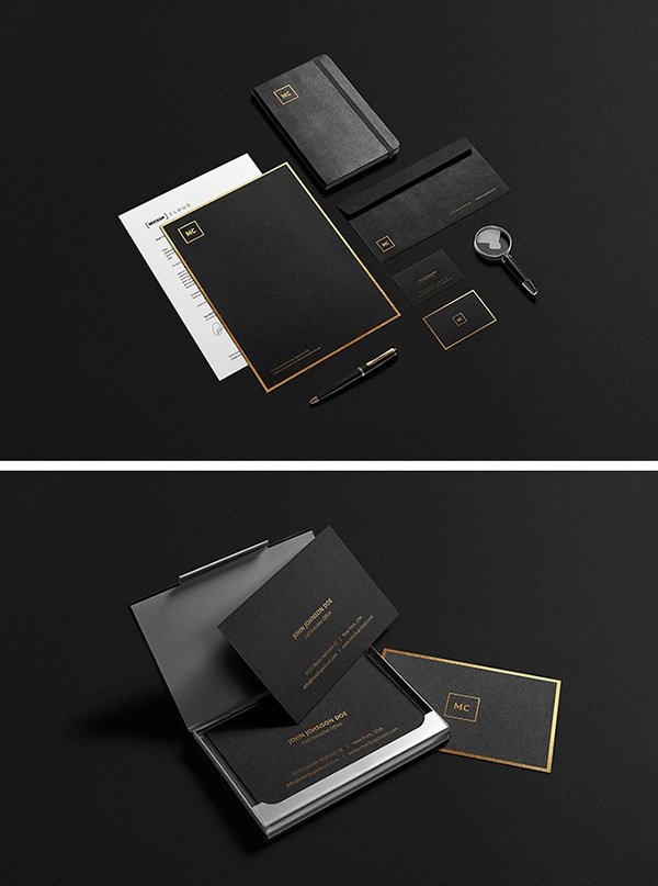 Black + Gold Stationery Mockup