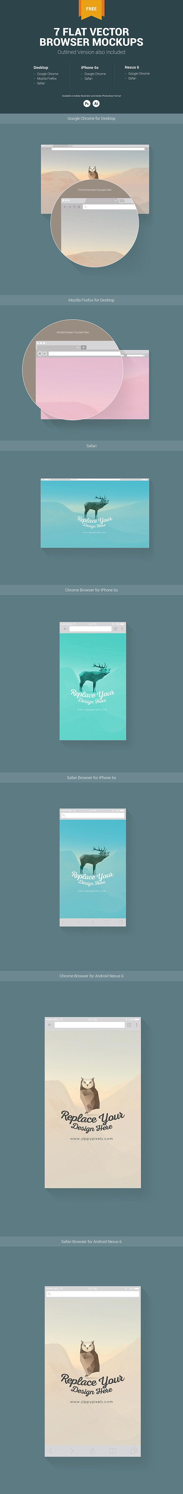 7 Free Web & Mobile Browser Mockups