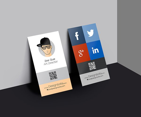 Vertical Business Card Mock-up Template