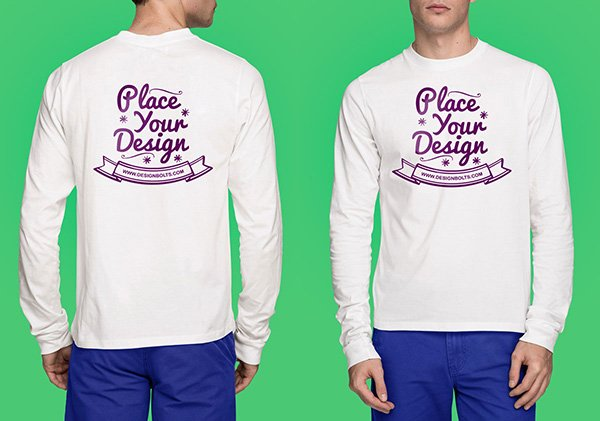 White Long Sleeves T-shirt Mock-up Photoshop PSD File