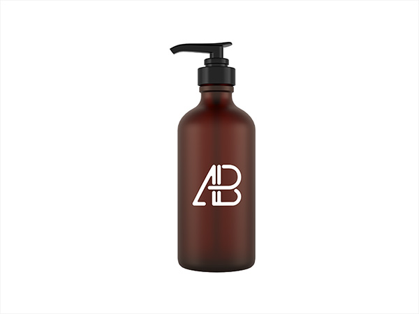 Glass Cosmetic Pump Bottle Mockup