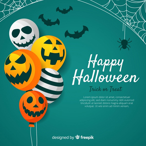 Lovely Halloween Background with Flat Design - Free Vector