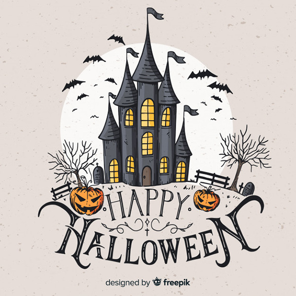 Vintage Haunted Castle Background - Free Vector