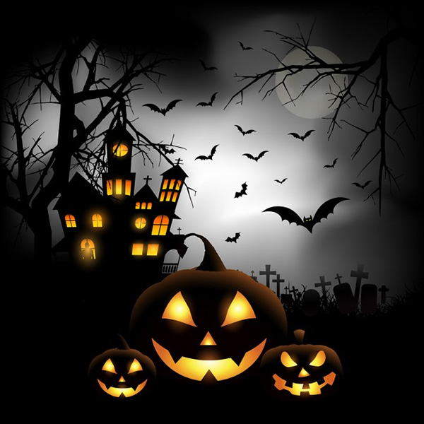 Spooky Halloween Background with Pumpkins in a Cemetery - Free Vector