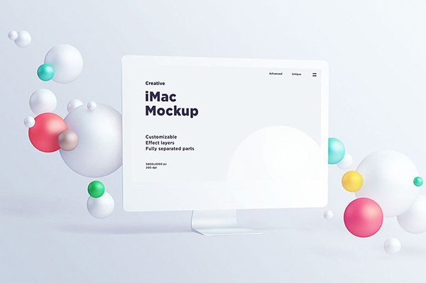 iMac With Spheres – Free Mockup