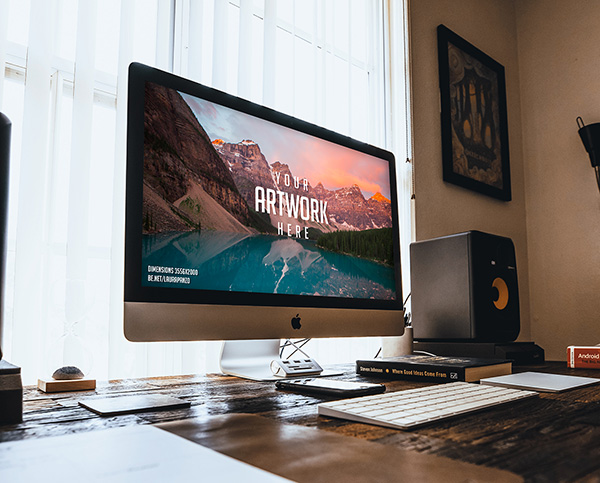 iMac on Wooden Desk Mockup