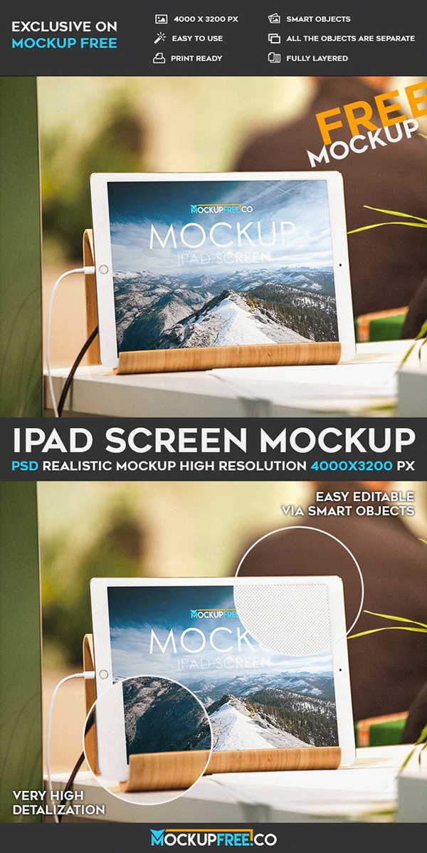 iPad Screen – Free PSD Mockup