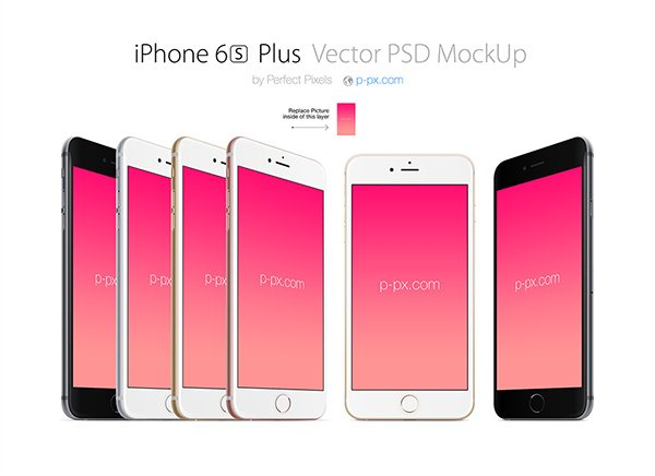 IPHONE 6S Plus Front And Angled PSD + AI Vector Mockup