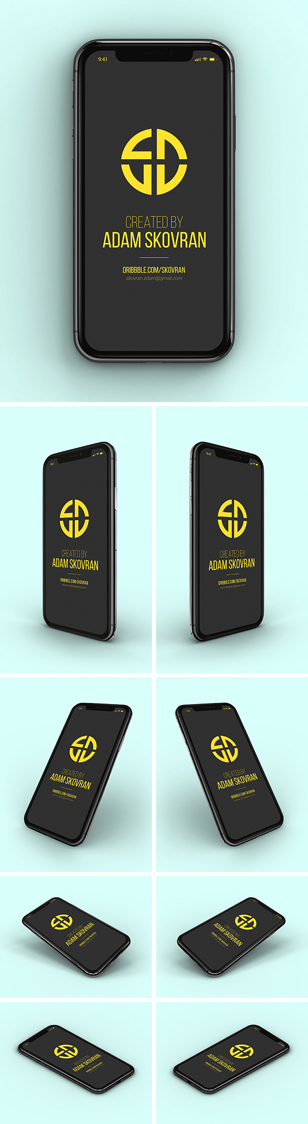 Free iPhone X MockUps – 9 Angles
