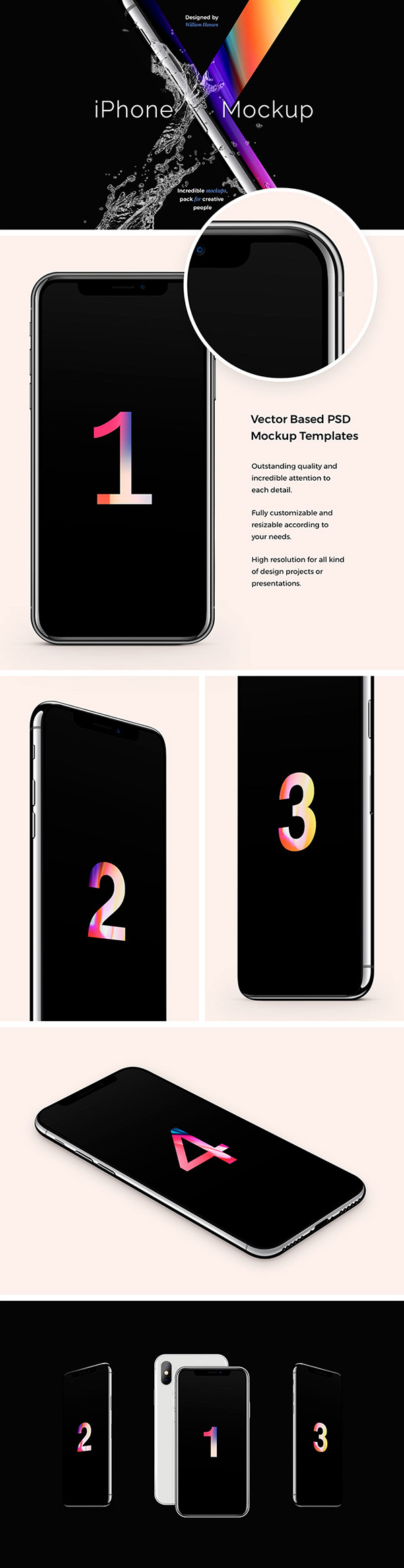 iPhone X Free Mockup Set
