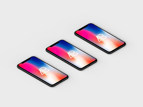 Isometric iPhone X Mockup Free PSD