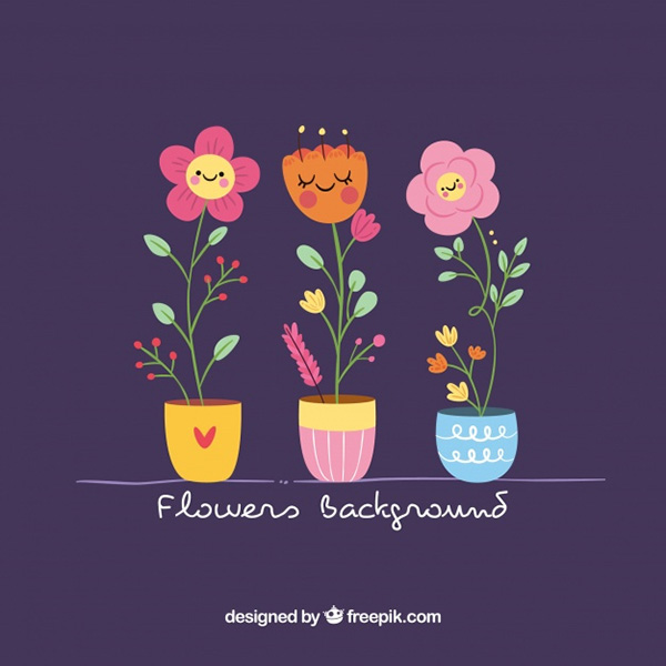 Lovely Pack of Flowers with Flat Design
