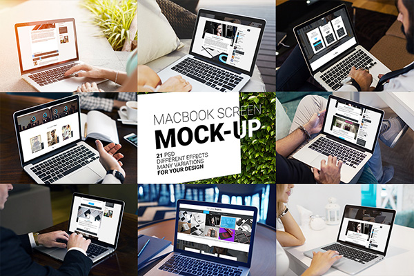 MacBook Screen Mock-Up - 21 PSD