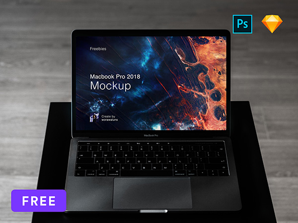 Mockup Macbook Pro 2018 Sketch and PSD