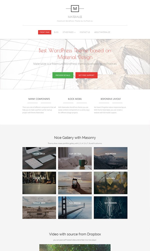 Materialize WordPress Theme