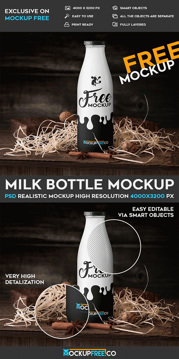 Milk Bottle – Free PSD Mockup