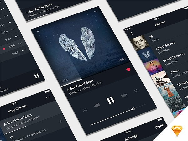 Music Player UI Kit Sketch
