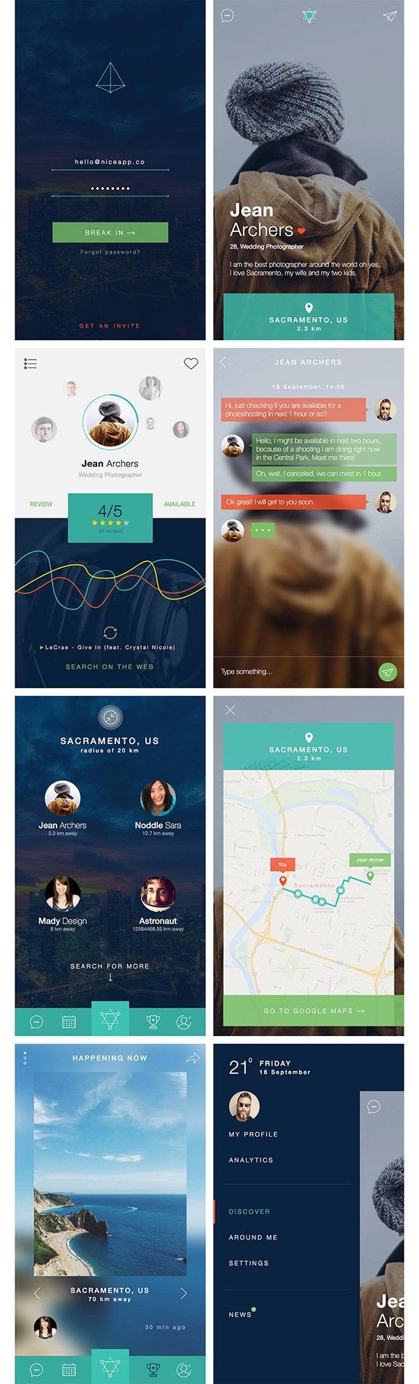 Nerdial App UI – 8 screens for PS and Sketch