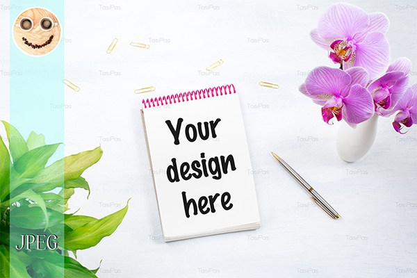 Notepad Mockup with Pink Orchid