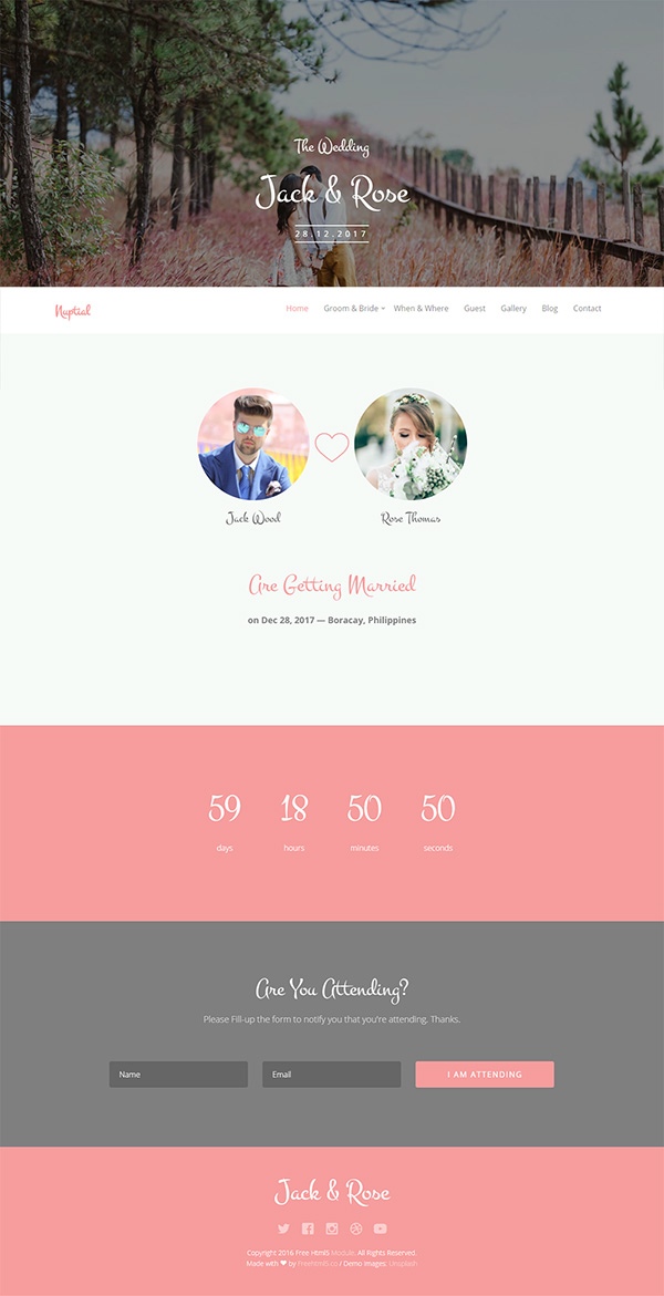 51 free bootstrap themes templates nuptial is a free wedding html5 template using bootstrap that will give you a magnificent inspiration and an amazing resource for your next wedding website maxwellsz