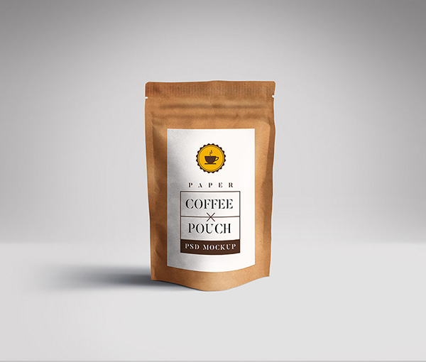 Coffee Pouch Packaging Free Mockup PSD