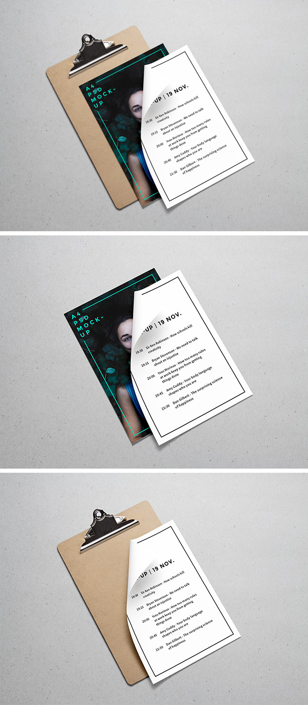 Clipboard and Two A4 Papers - Free Mockup