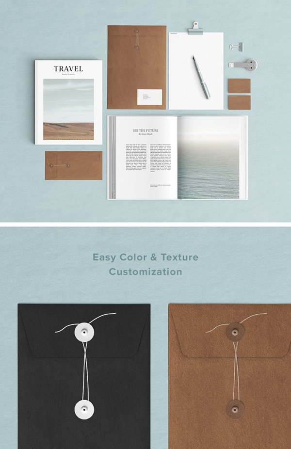 Powderblue Stationery Mockup