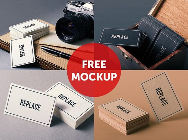 4 Free Business Card Mock Up