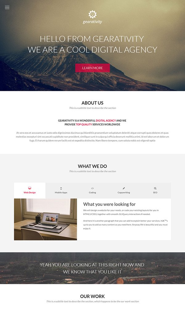 Gearativity – Free One-Page Responsive HTML5/CSS3 Template