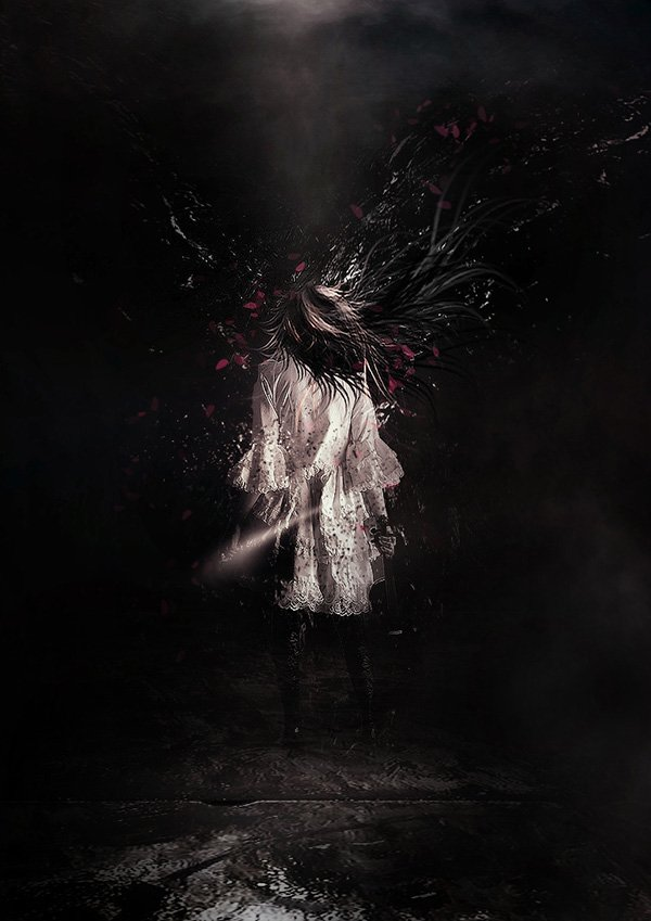 MANIPULATIVE HUMAN ARTWORK WITH PARTICLES AND FLYING FLOWER PETALS IN PHOTOSHOP