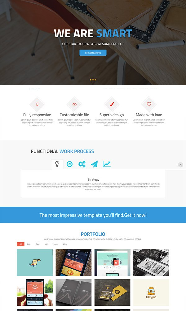 Fimply – One Page HTML Website Template